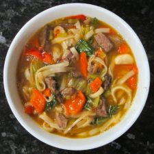 Hot Udon Noodles with Beef